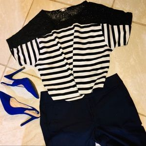 Calvin Klein black and white stripe shirt